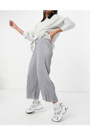 ASOS Plisse culotte pants in grey marl