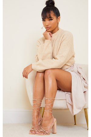 PRETTYLITTLETHING Nude Suede Strappy Toe Loop Lace Up High Block Heels