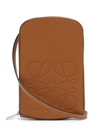 Loewe Anagram-logo Leather Neck Pouch - Mens - Tan