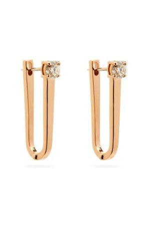 Melissa Kaye Aria U Diamond & 18kt Rose- Hoop Earrings - Womens - Rose