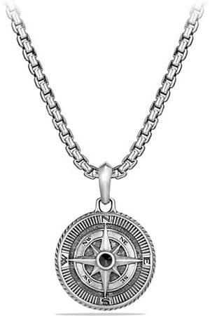 David Yurman Maritime Sterling & Black Diamond Compass Amulet