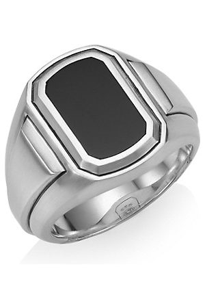 David Yurman Deco Sterling & Black Onyx Signet Ring