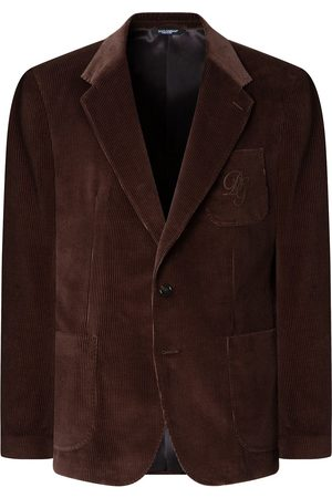 Dolce & Gabbana Men Blazers - Logo-embroidered corduroy jacket