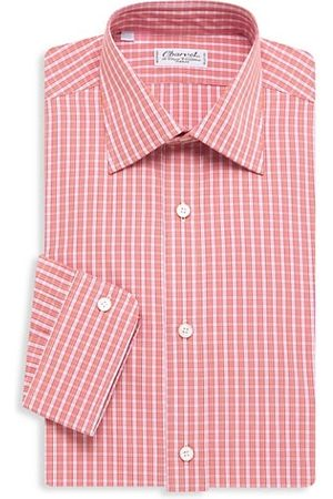 Charvet Small Windowpane Plaid Tonal Silk Dress Shirt