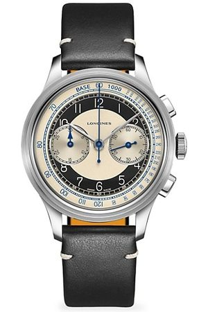 Longines Men Watches - The Heritage Classic Tachymeter Chronograph Stainless Steel & Leather-Strap Watch