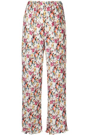Msgm Floral-pattern micro-pleat trousers