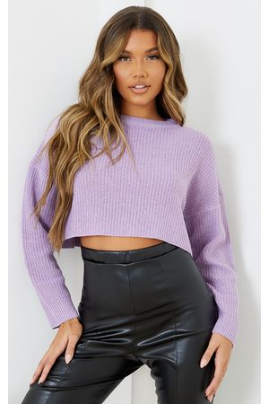 PRETTYLITTLETHING Women Sweaters - Lilac Basic Crew Neck Crop Jumper