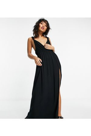 ASOS ASOS DESIGN petite recycled knot strap maxi beach dress in black