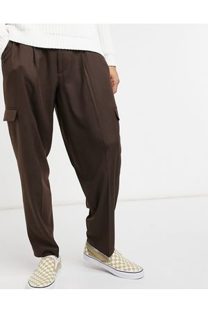 ASOS Oversized tapered cargo smart pants in brown
