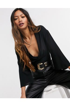 ASOS Batwing sleeve wrap top in black-No Colour