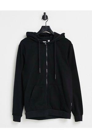 Only & Sons Zip through hoodie in black