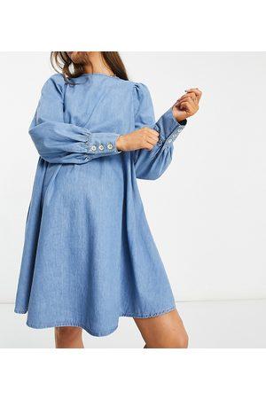 ASOS ASOS DESIGN Maternity soft denim puff sleeve smock dress in midwash-Blue