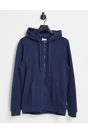 Only & Sons Zip-through hoodie in blue