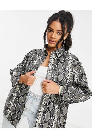 ASOS Leather look shacket in snake print-Multi