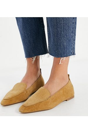ASOS Wide Fit Miley suede loafers in taupe-Beige