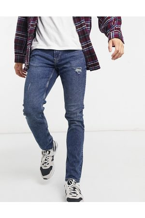 Only & Sons Slim jeans with abrasions in blue
