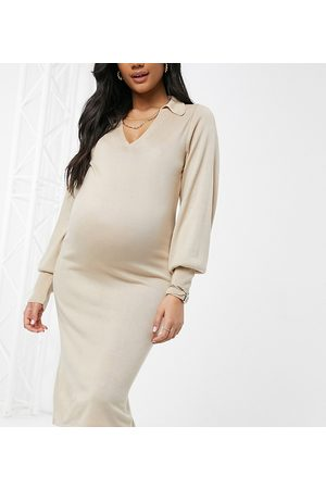 ASOS ASOS DESIGN Maternity midi dress with open collar detail in taupe-Stone
