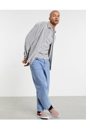 ASOS 90s oversized casual shirt in grey marle velour