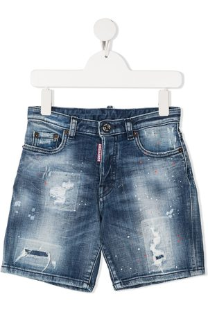 Dsquared2 Distressed paint-splatter denim shorts