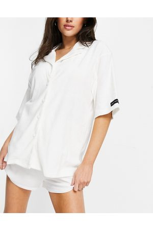 Public Desire Towelling pyjama shirt co-ord in off-white