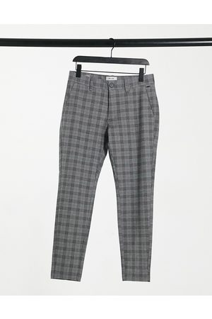 Only & Sons Check tapered pants in grey