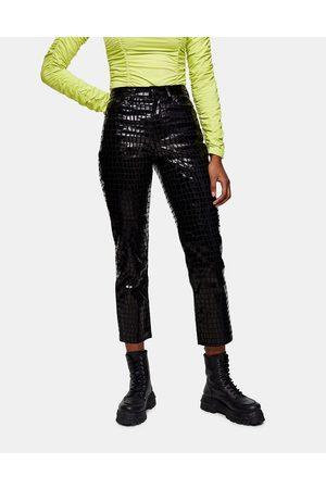 Topshop Editor straight leg jeans in black croc