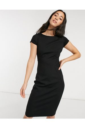 Closet Pencil dress with ruched cap sleeve in black