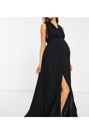 ASOS ASOS DESIGN maternity recycled gathered detail maxi beach dress in black
