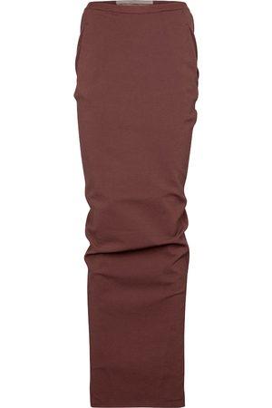 Rick Owens Pillar stretch cotton-blend jersey midi skirt