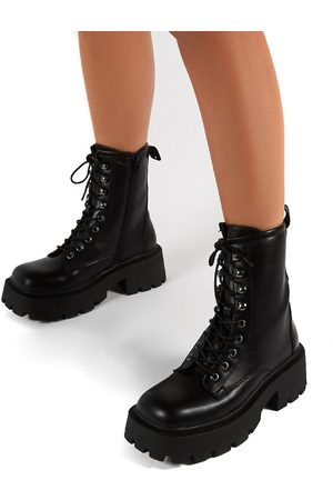 Public Desire Leader chunky lace up boots in black