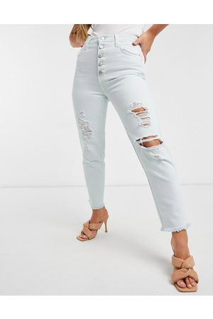 J Brand Heather straight leg distressed jeans with button detail in light blue