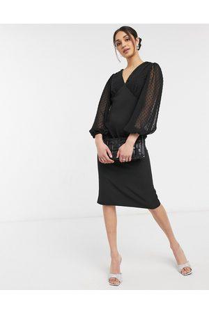 ASOS V-neck midi pencil dress with dobby sleeves in black