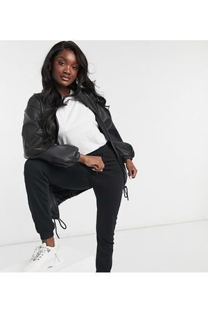 ASOS Tall leather look bomber jacket in black