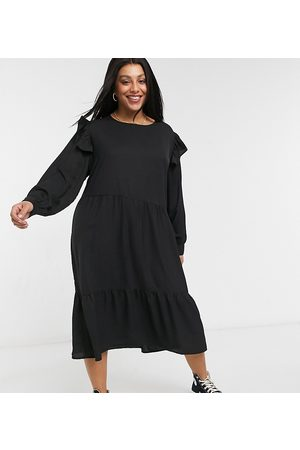 Wednesday's Girl Midi dress with frill detail-Black