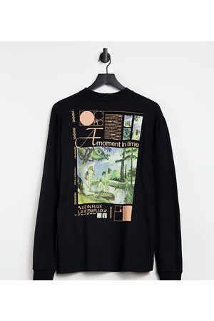 COLLUSION Unisex oversized long sleeve t-shirt with print in black