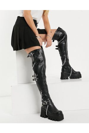 Lamoda Chunky over the knee boots with chains in black