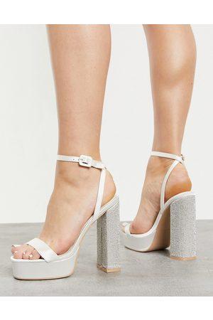 Be Mine Bridal platform sandals with embellished heel in over satin-White