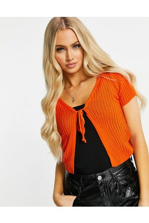 I saw it first Tie front cardigan in orange