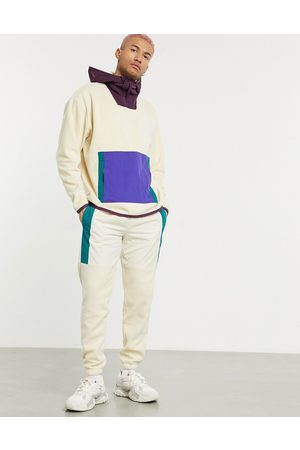 ASOS Co-ord tapered trackies in polar fleece with nylon panels-Grey