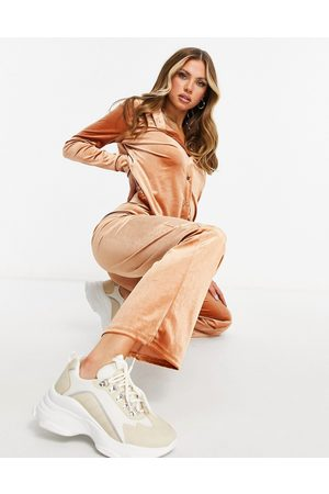 Moda Minx Velour oversized shirt and wide leg trackies set in toffee-Tan