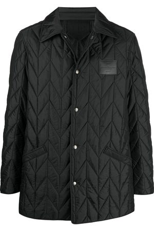 Salvatore Ferragamo Men Winter Jackets - Quilted buttoned logo patch jacket