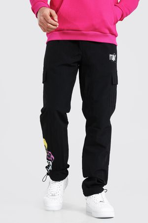 Boohoo Mens Shell Man Skull Cargo trousers With Bungee Cord