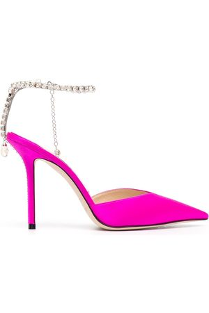 Jimmy Choo Women Heels - Crystal-embellished satin pumps