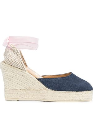 MANEBI Women Heeled Sandals - Lace-up espadrille wedges