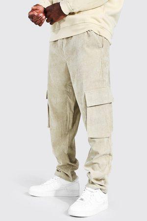 Boohooman Men Cargo Pants - Mens Stone Corduroy Straight Leg Cargo Trouser
