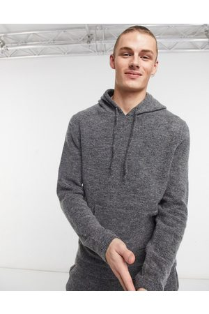 ASOS Knitted co-ord soft yarn hoodie in charcoal-Beige