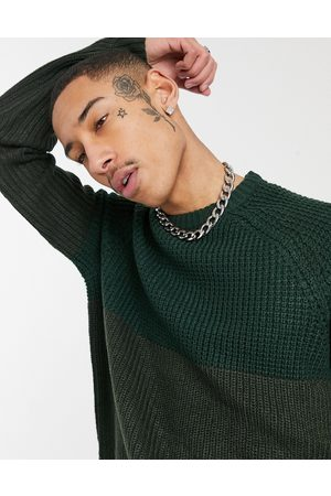 Only & Sons Jumper in chunky knit two tone green