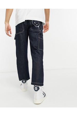 Levi's Youth tapered carpenter crop jeans in smile more wash black