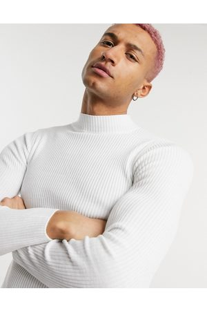 ASOS Muscle fit ribbed turtleneck jumper in white