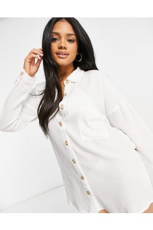 Influence Cheesecloth beach shirt dress in white